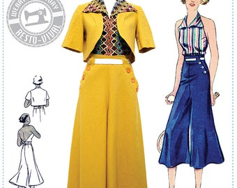 E-Pattern- Chic Ahoy- 30s Slacks, Halter, & Bolero- Size Pack B- Wearing History PDF Sewing Pattern