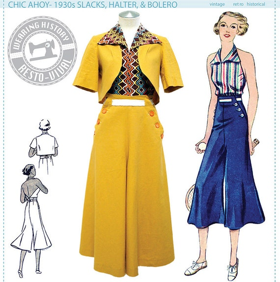 1930s Women's Pants and Beach Pajamas 1930s Slacks Halter & Bolero- Size Pack A- Wearing History PDF Sewing Pattern $14.00 AT vintagedancer.com