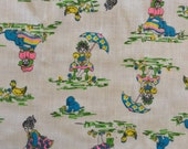 Vintage 1970's little girl, puppy, chicken, umbrella, and flower print fabric, in bright colors on cream, 1 yard
