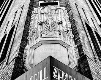 Abstract New York Photography. Zephyr Grill Landmark NY photo. Urban Architecture Wall Art Black & White Home Decor 11x14, 8x10 Matted Print