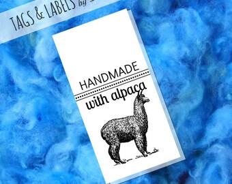 Printable PDF Hang Tags - Handmade with Alpaca Product Labels