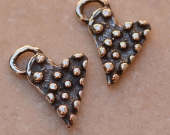 Two Dotted Heart Charms in Sterling Silver -S253