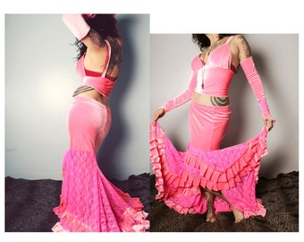 Long Gypsy Skirt, Hot Pink Mermaid style. Lace and Velvet Skirt, Belly Dance Costume, shapely figure