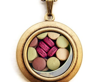 Let Them Eat Macarons - Yummy Bakery Dessert Photo Locket Necklace