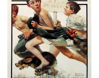 No Swimming - Norman Rockwell Art - 1993 Vintage Book Page - Reproduction Print - 10 x 12
