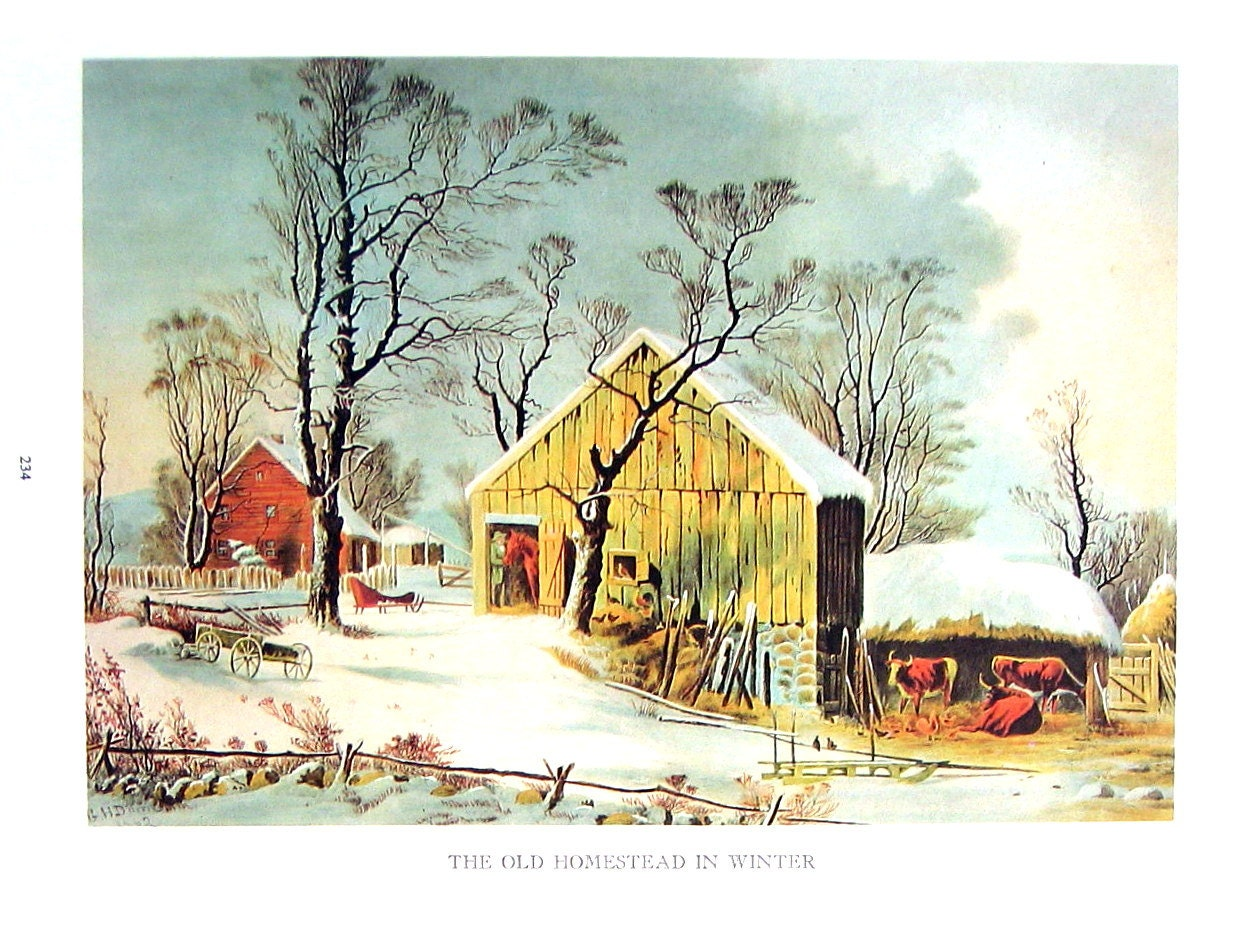 Currier and ives print the old homestead in by mysunshinevintage