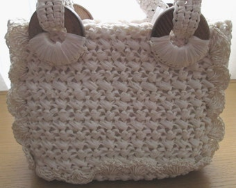 Vintage White Straw Bag, Straw Purse, woven bag, nautical purse, white crochet bag, white straw handbag, Raffia Bag, Megan Draper, gogo