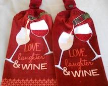 Crochet Handle Top Wine Themed Hand Towel - Wine themed Granny Towel - Crocheted top Wine Glass Kitchen Hand Towel Set