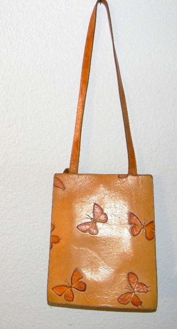 Vintage Leather Tote Mario Hernandez Butterflies in natural colored leather with orange butterflies