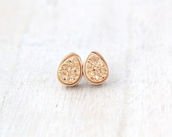 Teardrop Druzy Studs , Post Earrings, Petite Gilded Gold Minimalist Fashion, Mothers Day Gifts