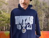 vintage 80s hoody sweatshirt GEORGETOWN university hoyas basketball Large XL navy