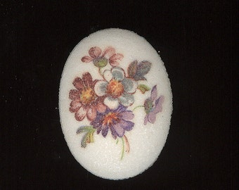 Vintage Glass Sugar Floral Decal Resin Cabochon From West Germany. Drill Hole Make Pendant 40x30mm No.263