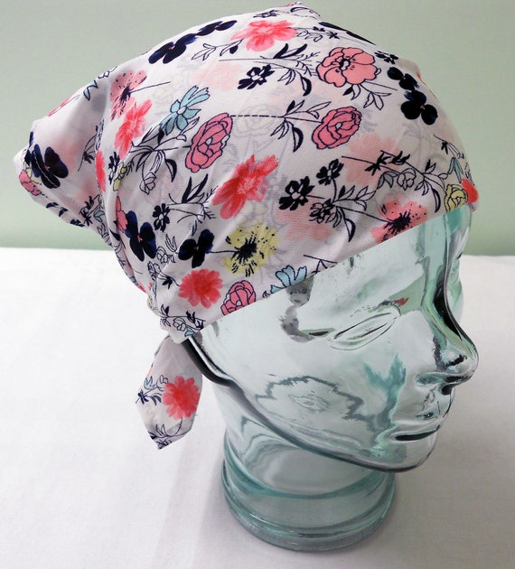 Floral Head Scarf - Rockabilly Retro Neck Tie Accessories - Multi Floral Flowers White Pink Blue Red