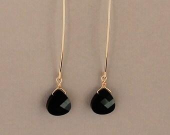 Long Black Teardrop Earring, Silver, Gold or Rose Gold Filled, Long Dangle Earrings, Swarovski Jet Black Crystal Earring