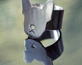 French bulldog or boston terrier Moosh face sterling silver ring- US size 3.5