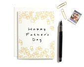 Fathers Day Card / Greeting Cards / Silkscreen Print / Black and Metallic Gold