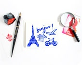 Bonjour Print / French Illustration / Eiffel Tower / Anytime Card / Hello Card / Blue Card