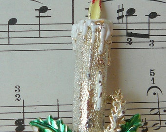 Vintage Gold and Enamel Christmas Candle Brooch with Holly Accents - Pretty frosty texture on gold - Signed Gerry on back