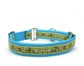 "1"" Dog Collar Folk Racoon martingale or buckle collar"