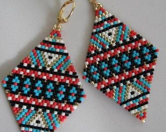 Native American Inspired Earrings -  Copyright 2014 - Patti Ann McAlister- Large Diamond Shape Seed Bead Earrings