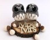Mini Grey Owl Wedding Cake Topper