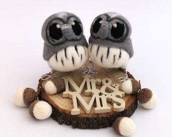 Grey Owl Wedding Cake Topper Mini Bird Wedding Cake Topper