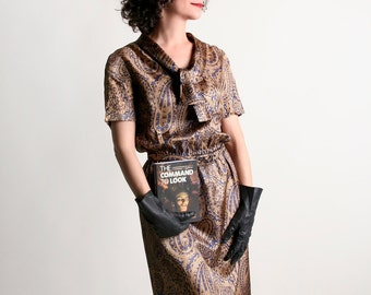Vintage 1960s Dress - Bronze Paisley Metallic Shimmer I. Magnin Dress - Small