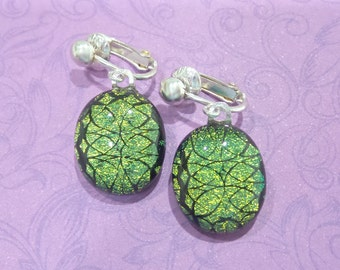 Golden Green Earrings Clip Ons, Sparkly Clip Earrings, Non Pierced Earrings - Meda - 2221 -6