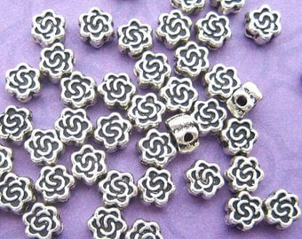 24 Rose Beads, Silver Plated, 4mm Beads, Floral Beads, Disk Beads, 4mm Spacer Beads, Flat Spacer Beads, Silver Beads, DIY Jewelry - TS335B