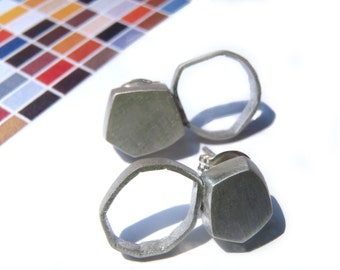 Polygon earrings solid hollow shape in brushed sterling minimal studs