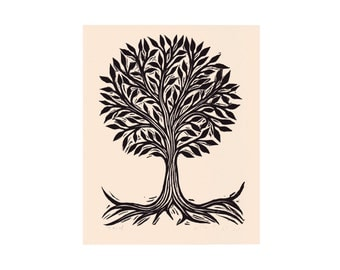 Art, Tree Art, Tree of  Life Linocut Art Print, nature wall art, Linocut Print, Topiary Tree Art
