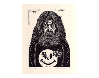 Art, Alan Moore Art Print, Linocut Print of Alan Moore, Hand carved, hand printed wall art, Alan Moore Portrait
