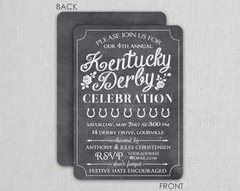 Kentucky Derby Invitation - Derby  Party Invitation - Run for the Roses - Chalkboard Invitation