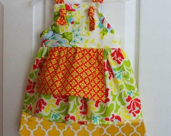 Girls Floral Dress Flower Girls Bohemian Red and Sunny Yellow Wedding Ivory Sway 5 6  7 8 10 12