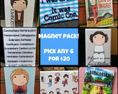 Magnet Pack! PICK 6! Buy 5, Get 1 Free! Pop culture, Superheroes, Book Covers, Princesses, Doctor Who, Sherlock, & More!