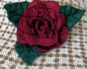 Soft Sculpture Burgundy Rose Pillow, Rose Pillow, Flower Pillow