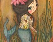Mermaid Print Nautical Girl Tattoo Coral Flower Wall Art--- The Tattooed Mermaid LARGE PRINT 11 x 14