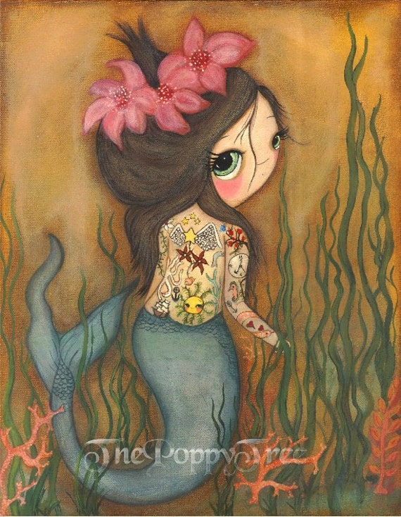Items similar to mermaid print nautical girl tattoo coral flower wall art the tattooed for Wall e tattoo