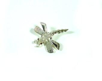 Vintage Dragonfly Brooch - Silver Tone Red Rhinestone Eyes