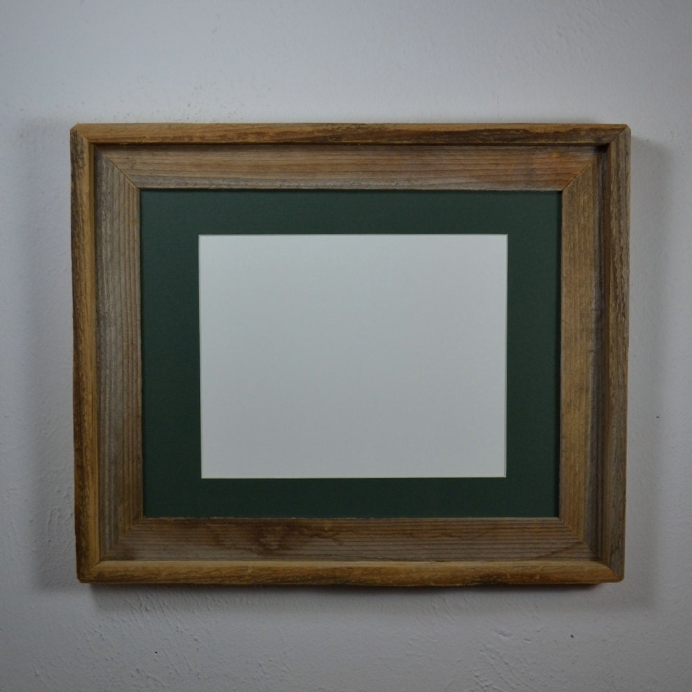 Upcycled 11x14 Wood Frame With 8x10 Blue Mat