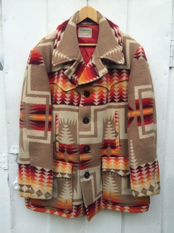 Vintage Pendleton Indian Blanket Chief Joseph Navajo Mens Coat