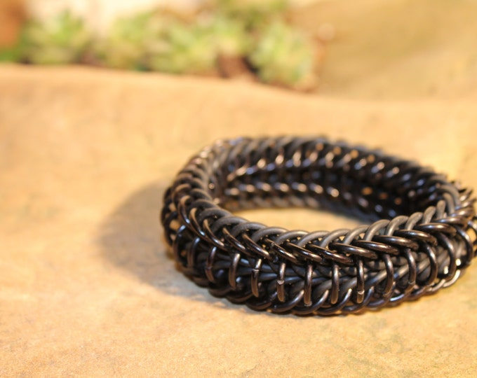 Black Stretchy Double Half Persian Chainmaille bracelet