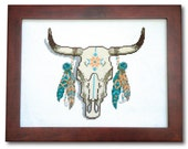 Decorated Cow Skull Cross Stitch Pattern Instant Download