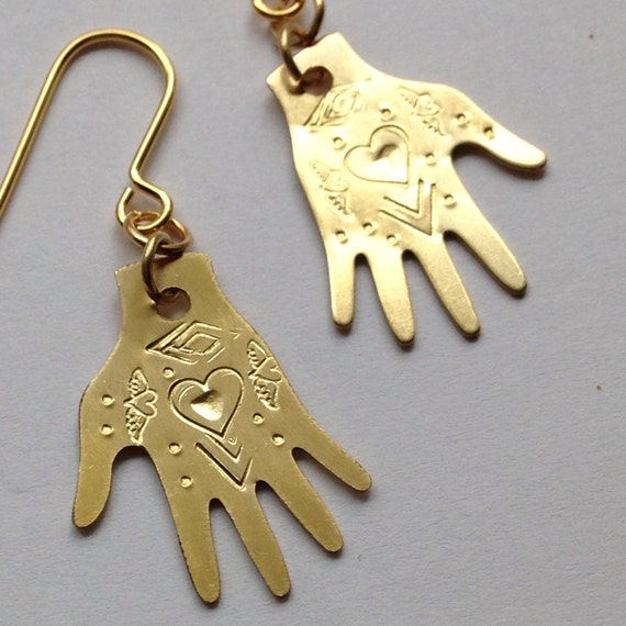 Brass Hand Frida Kahlo Inspired Earrings - Heart Design - Frida Earrings - Tattoo - Milagro - Gypsy - Mexican - Dias De Los Muertos - Folk