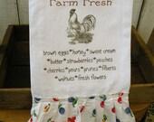 Flour sack Farmhouse Kitchen towel FARM FRESH Tattered ruffles ECS svfteam Rdt