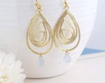 Matte Gold Plated Swirl Drop Pendant Chandelier Earrings. Modern, Everyday Bridesmaid Earring. Bridal Wedding Jewelry
