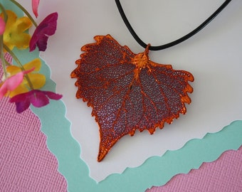 Copper Cottonwood Leaf, Real Leaf,  Copper Leaf, Heart Shaped Leaf, Real Copper Leaf Necklace,  LL76