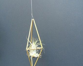 Med. Geometric Himmeli Hanger - long diamond - brass