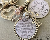Future daughter in law gift, wedding bouquet charm, giving away my son is not an easy thing to do, Bridal bouquet charm, wedding gift bride