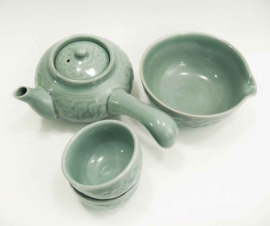 Asian tea set vintage handle tea pot cups pour bowl by Green tea pot set